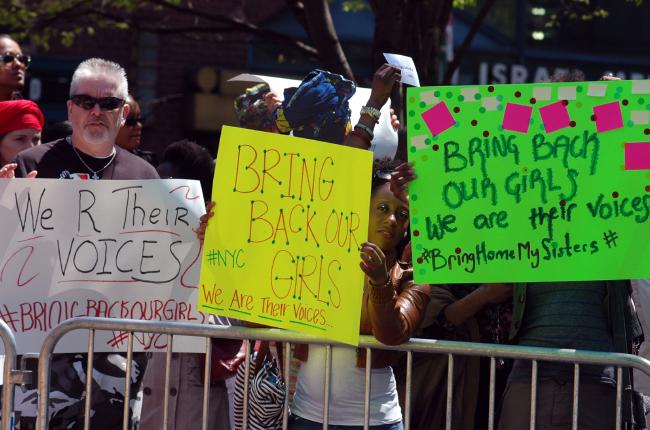 Manifestation en soutien aux filles nigérianes à New-York cc Michael Fleshman