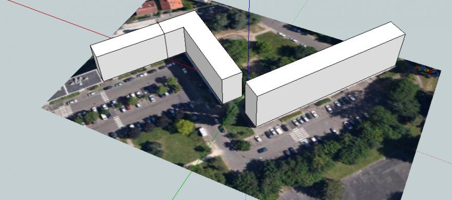 Le quartier des Dervallières sur Google Street View avec des immeubles sortis de terre via le logiciel Sketchup