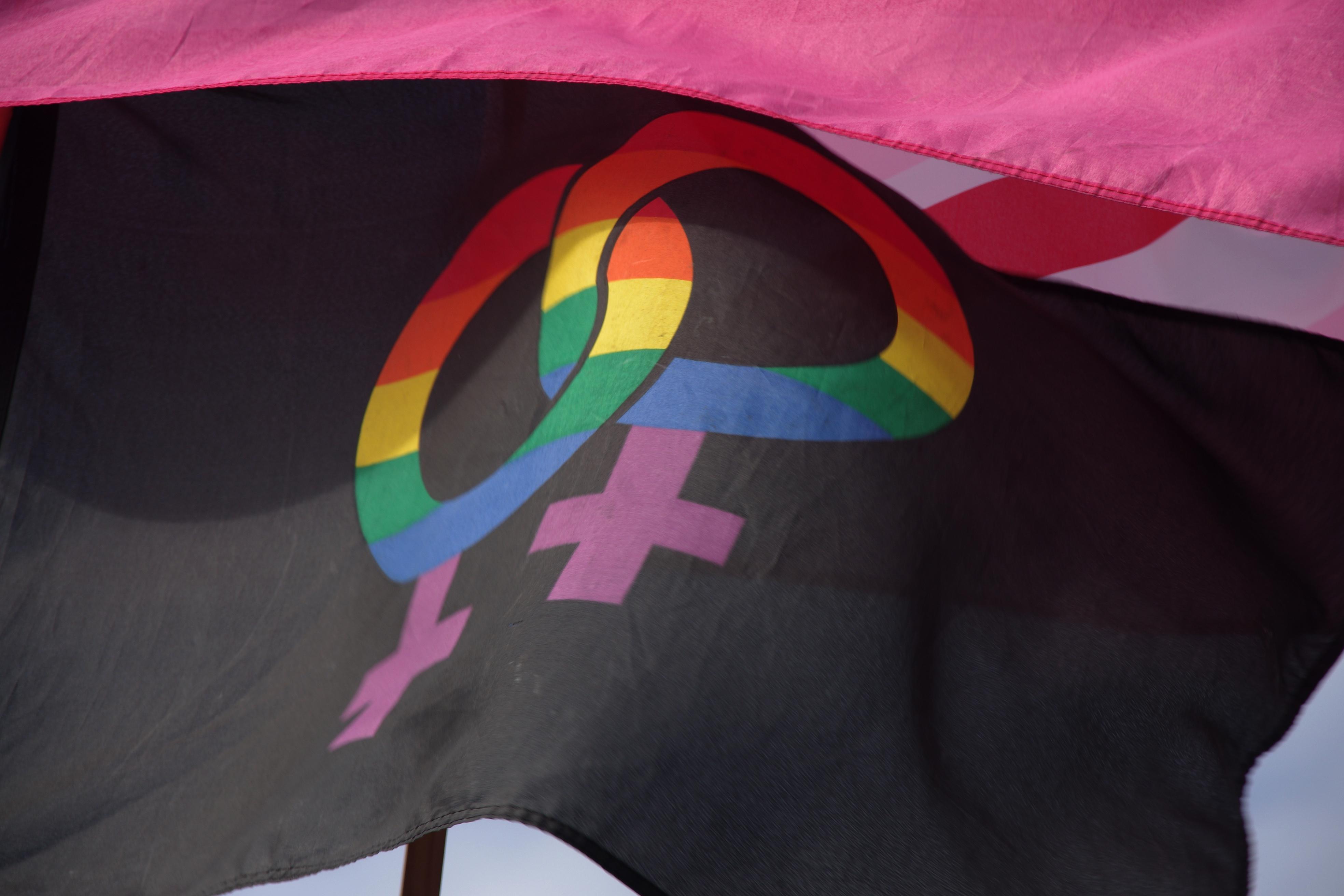 Drapeau LGBT lors d'une manifestation à Londres. Crédit photo : cc Matt Buck.