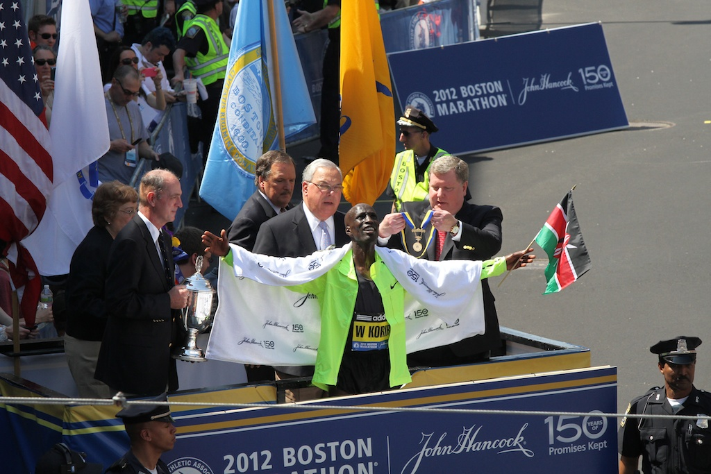 Wesley Korir au marathon Boston en 2012 CC Hyunah Jang/Boston University News Service