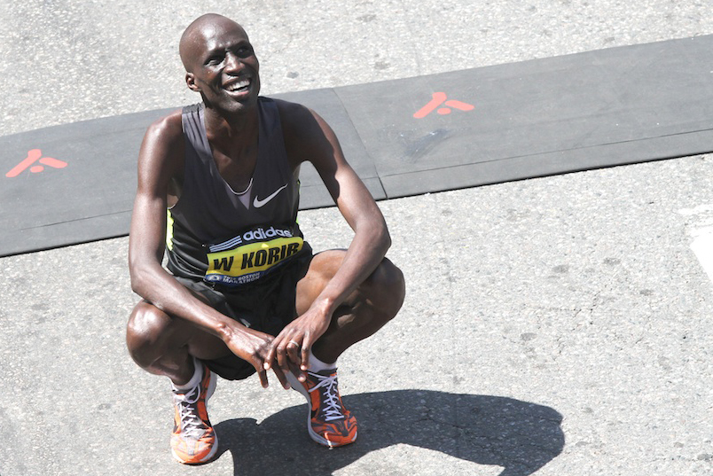 Wesley Korir à la fin du marathon de Boston  CC Hyunah Jang/Boston University News Service
